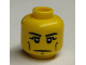 Part No: 3626cpb2406  Name: Minifigure, Head Black Eyebrows, Vertical Cheek Lines, Slight Frown, Chin Dimple and White Pupils Pattern - Hollow Stud