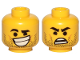 Part No: 3626cpb2411  Name: Minifigure, Head Dual Sided Black Eyebrows, Stubble, Lopsided Grin with Teeth / Surprised Pattern (Rex Dangervest) - Hollow Stud