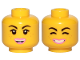 Part No: 3626cpb2427  Name: Minifigure, Head Dual Sided Female Black Eyebrows, Freckles, Eyelashes, Pink Lips, Open Mouth Smile / Cheerful Pattern (Lucy) - Hollow Stud