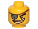 Part No: 3626cpb2428  Name: Minifigure, Head Male Eyepatch Silver with Rivets, Gold Tooth, Smile Pattern (MetalBeard) - Hollow Stud