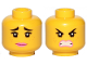 Part No: 3626cpb2430  Name: Minifigure, Head Dual Sided Female Black Raised Eyebrows, Freckles, Eyelashes, Pink Lips, Smile / Furious Pattern (Lucy) - Hollow Stud
