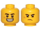 Part No: 3626cpb2441  Name: Minifigure, Head Dual Sided Black Eyebrows, Cut on Cheek, Open Mouth Smile with Teeth / Angry Pattern - Hollow Stud