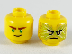 Part No: 3626cpb2445  Name: Minifigure, Head Dual Sided Reddish Brown Eyebrows, Green Eyes, Crooked Smile / Black Eyebrows, Gold Eyes, Energy, Angry Pattern (Lloyd) - Hollow Stud