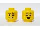 Part No: 3626cpb2450  Name: Minifigure, Head Dual Sided Dark Bluish Grey Eyebrows, Wrinkles, Worried / Smile Pattern - Hollow Stud