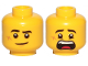 Part No: 3626cpb2454  Name: Minifigure, Head Dual Sided Black Eyebrows, Cut on Cheek, Lopsided Smile / Scared Pattern - Hollow Stud