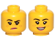 Part No: 3626cpb2455  Name: Minifigure, Head Dual Sided Female, Freckles, Pink Lips, Raised Right Eyebrow, Grumpy / Smile Pattern - Hollow Stud