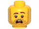 Part No: 3626cpb2456  Name: Minifigure, Head Dark Brown Beard Stubble, Dark Brown Eyebrows, Left Raised, Open Mouth, Teeth and Tongue, Scared Pattern - Hollow Stud