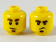 Part No: 3626cpb2461  Name: Minifigure, Head Dual Sided Dark Brown Eyebrows and Soul Patch, Smirk / Frown Pattern - Hollow Stud