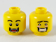 Part No: 3626cpb2462  Name: Minifigure, Head Dual Sided Black Eyebrows, Wide Open Smile with Teeth and Tongue / Blushing with Teeth Pattern - Hollow Stud