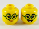 Part No: 3626cpb2464  Name: Minifigure, Head Dual Sided Female, Black Eyebrows, Dark Green Glasses, Medium Nougat Lips, Closed Smile / Open Smile Pattern - Hollow Stud