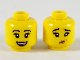 Part No: 3626cpb2467  Name: Minifigure, Head Dual Sided Female, Black Eyebrows, Medium Dark Flesh Lips, Smile / Grossed Out Pattern - Hollow Stud