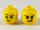 Part No: 3626cpb2471  Name: Minifigure, Head Dual Sided Female Black Eyebrows, Medium Nougat Lips, Smirk with Raised Right Eyebrow / Licking Lips Pattern - Hollow Stud
