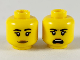 Part No: 3626cpb2475  Name: Minifigure, Head Dual Sided Female, Black Eyebrows, Medium Dark Flesh Lips, Neutral / Shouting Pattern - Hollow Stud