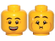 Part No: 3626cpb2492  Name: Minifigure, Head Dual Sided Eyebrows, Crow's Feet, Open Mouth Smile / Queasy Expression with Sweat Drop Pattern - Hollow Stud