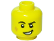 Part No: 3626cpb2519  Name: Minifigure, Head Black Eyebrows, White Pupils, Cheek Scuff, Lopsided Grin Pattern - Hollow Stud