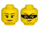 Part No: 3626cpb2535  Name: Minifigure, Head Dual Sided Female Brown Eyebrows, Peach Lips, Chin Dimple and Closed Mouth Smirk / Black Mask Pattern - Hollow Stud