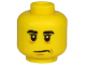 Part No: 3626cpb2536  Name: Minifigure, Head Black Eyebrows, Black Eyes with White Pupils, Chin Dimple, Sad Mouth Pattern - Hollow Stud