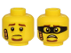 Part No: 3626cpb2538  Name: Minifigure, Head Dual Sided Brown Eyebrows and Goatee, Bandage,  Sad / Scared Face with Black Mask Pattern - Hollow Stud
