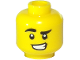 Part No: 3626cpb2539  Name: Minifigure, Head Black Eyebrows, Left Lowered, Lopsided Grin, Sly Expression Pattern - Hollow Stud