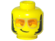 Part No: 3626cpb2540  Name: Minifigure, Head Glasses, Orange Sunglasses with Silver Frames, Lopsided Grin, Thick Sideburns Pattern - Hollow Stud