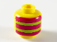 Part No: 3626cpb2552  Name: Minifigure, Head (Without Face) Alternating Stripes, 3 Magenta, 2 Lime Pattern, Front and Back - Hollow Stud