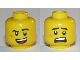 Part No: 3626cpb2567  Name: Minifigure, Head Dual Sided Black Eyebrows, Cheek Scar, Open Mouth Smile / Scared Pattern - Hollow Stud