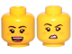 Part No: 3626cpb2568  Name: Minifigure, Head Dual Sided Female Black Eyebrows, Medium Nougat Freckles, Dark Pink Lips, Open Mouth Smile / Disgusted Pattern - Hollow Stud