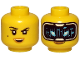 Part No: 3626cpb2572  Name: Minifigure, Head Dual Sided Female Black Eyebrows, Beauty Mark, Smile / HUD with Black Screen, Medium Azure Highlights Pattern - Hollow Stud