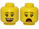 Part No: 3626cpb2582  Name: Minifigure, Head Dual Sided Female Black Eyebrows, Pink Lips, Smile with Teeth and Tongue / Scared Pattern - Hollow Stud
