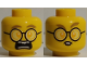 Part No: 3626cpb2590  Name: Minifigure, Head Dual Sided, Glasses Round, Scared / Rodent Teeth Pattern - Hollow Stud