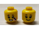 Part No: 3626cpb2614  Name: Minifigure, Head Dual Sided Female, Black Eyebrows, Grin / Open Mouth Smile with Butterfly Pattern - Hollow Stud (BAM)