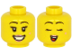 Part No: 3626cpb2634  Name: Minifigure, Head Dual Sided Female Pink Lips and Beauty Mark, Black Eyebrows, Open Mouth with Teeth, Smile / Closed Eyes Pattern - Hollow Stud