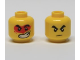 Part No: 3626cpb2643  Name: Minifigure, Head Dual Sided Black Thick Eyebrows, Frown / Large Lopsided Open Mouth Grin with Teeth, Red Paint Splotch Around Eyes Pattern - Hollow Stud