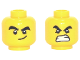 Part No: 3626cpb2646  Name: Minifigure, Head Dual Sided Black Thick Eyebrows and Eyes with White Pupils with Smirk / Angry with Open Mouth with White Teeth Pattern - Hollow Stud