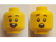 Part No: 3626cpb2648  Name: Minifigure, Head Dual Sided Child Black Eyebrows, Open Mouth Smile with Teeth and Tongue / Surprised Pattern - Hollow Stud