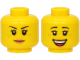 Part No: 3626cpb2662  Name: Minifigure, Head Dual Sided Female Black Eyebrows, Freckles, Eyelashes, Peach Lips, Smile / Open Mouth Smile with Teeth Pattern - Hollow Stud
