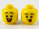 Part No: 3626cpb2743  Name: Minifigure, Head Dual Sided Child Black Eyebrows, Open Mouth with Red Tongue / Red Tongue Sticking Out Pattern - Hollow Stud