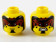 Part No: 3626cpb2744  Name: Minifigure, Head Dual Sided Black and Dark Red Forehead Makeup, Black Spots and Chin, Grin / Fierce with Fangs Pattern - Hollow Stud