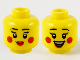 Part No: 3626cpb2745  Name: Minifigure, Head Dual Sided Female Black Eyebrows, Red Lips and Circles on Cheeks, Closed Smile / Open Smile Pattern - Hollow Stud