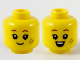 Part No: 3626cpb2747  Name: Minifigure, Head Dual Sided Child Reddish Brown Eyebrows, Dark Tan # Smudge, Grin / Open Smile Pattern - Hollow Stud