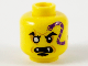 Part No: 3626cpb2749  Name: Minifigure, Head Dark Purple Snake Tattoo, Gold Right Eye, Open Mouth with Fangs, Black Soul Patch Pattern - Hollow Stud