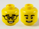 Part No: 3626cpb2753  Name: Minifgure, Head Dual Sided, Black Eyebrows, Glasses with Raised Eyebrows / Smile Pattern - Hollow Stud