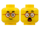 Part No: 3626cpb2857  Name: Minfigure, Head Dual Sided, Black Eyebrows, Dark Red Round Glasses, Neutral / Closed Eyes and Open Mouth with Red Tongue Pattern - Hollow Stud