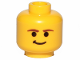 Part No: 3626cps5  Name: Minifigure, Head Male Smirk and Brown Eyebrows Pattern (SW Han Solo) - Hollow Stud