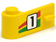 Part No: 3822pb006  Name: Door 1 x 3 x 1 Left with Number 1 and Red and Green Stripe Pattern (Sticker) - Set 6550