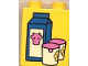 Part No: 4066pb066  Name: Duplo, Brick 1 x 2 x 2 with Milk Carton and Glasses Pattern