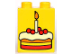 Part No: 4066pb159  Name: Duplo, Brick 1 x 2 x 2 with Birthday Cake Pattern