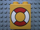 Part No: 4066pb161  Name: Duplo, Brick 1 x 2 x 2 with Life Preserver Pattern