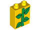 Part No: 4066pb271  Name: Duplo, Brick 1 x 2 x 2 with Green Leaves / Plant Pattern