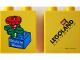 Part No: 4066pb297  Name: Duplo, Brick 1 x 2 x 2 with Bricks in Bloom Red Flower on Blue Brick Pattern (Stickered)